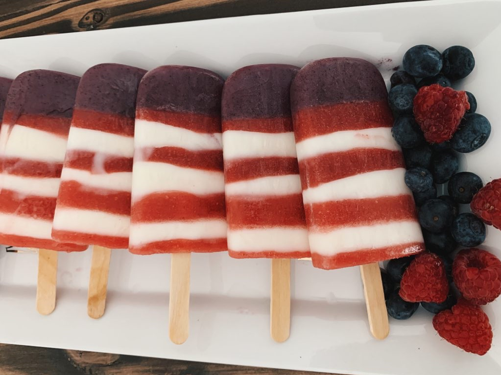 red, white, and blue fourth of july healthy popsicles