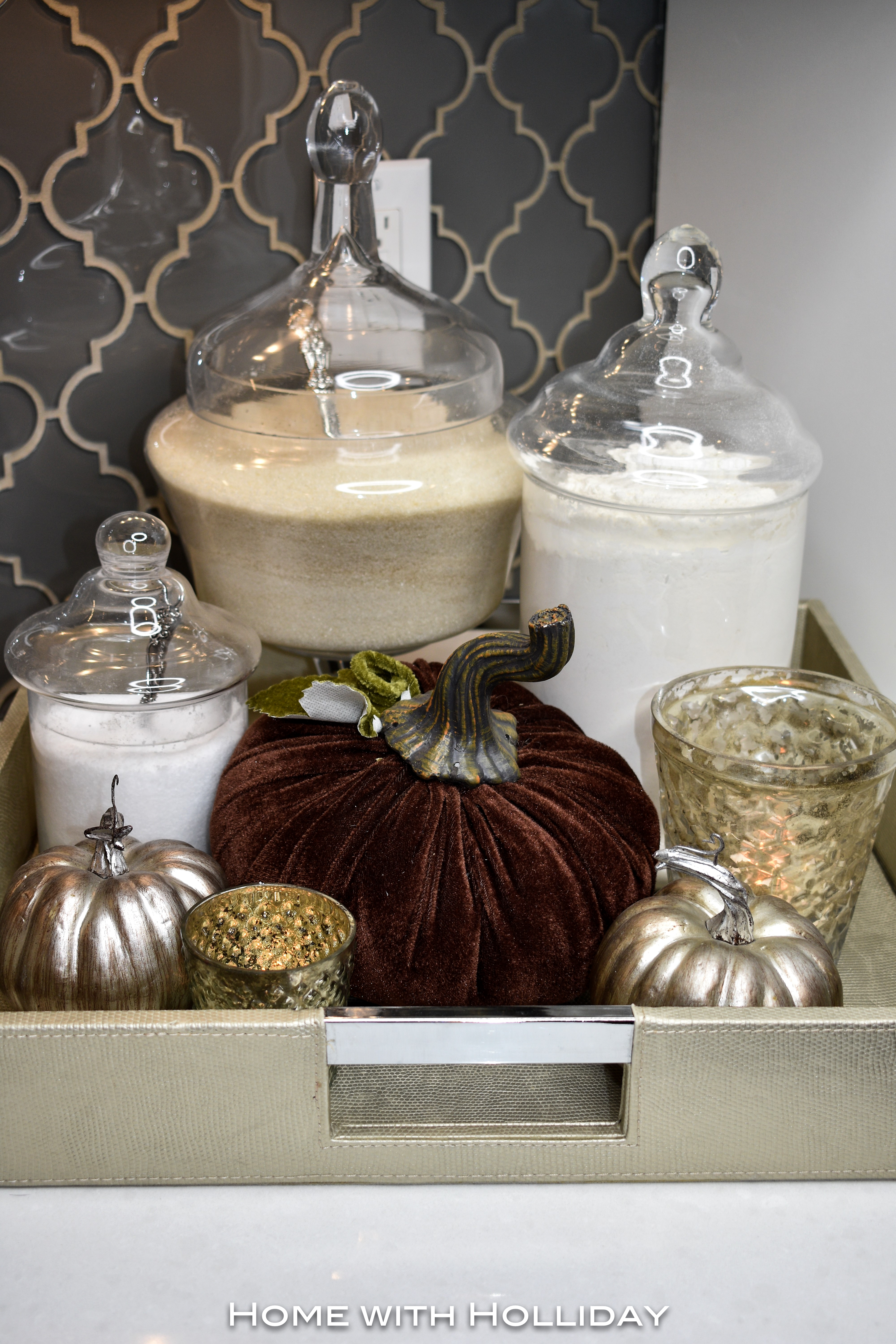 Fall Vignette with Apothecary Jars in Fall Kitchen Tour