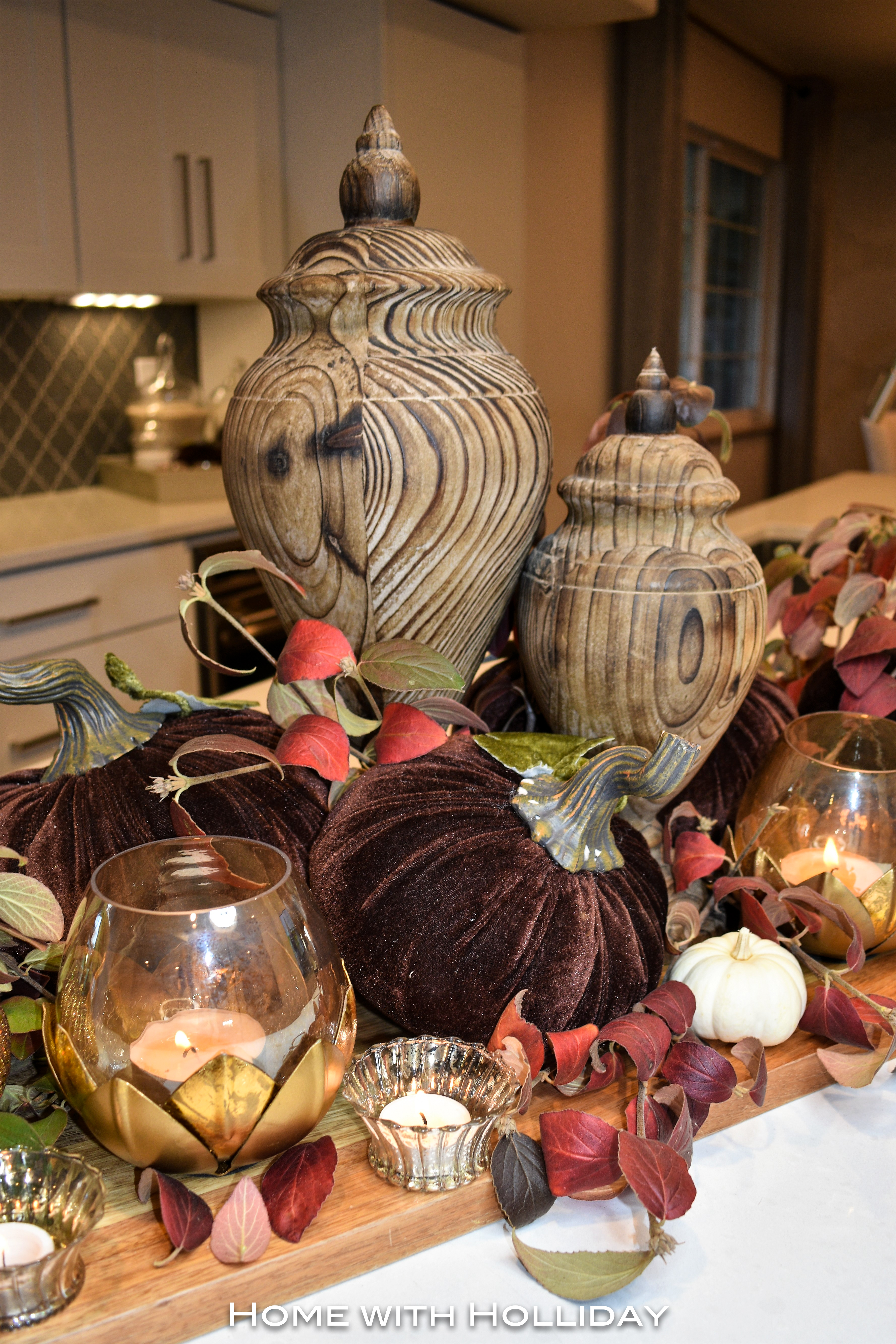 Rustic Fall Centerpiece in Fall Kitchen Tour 6