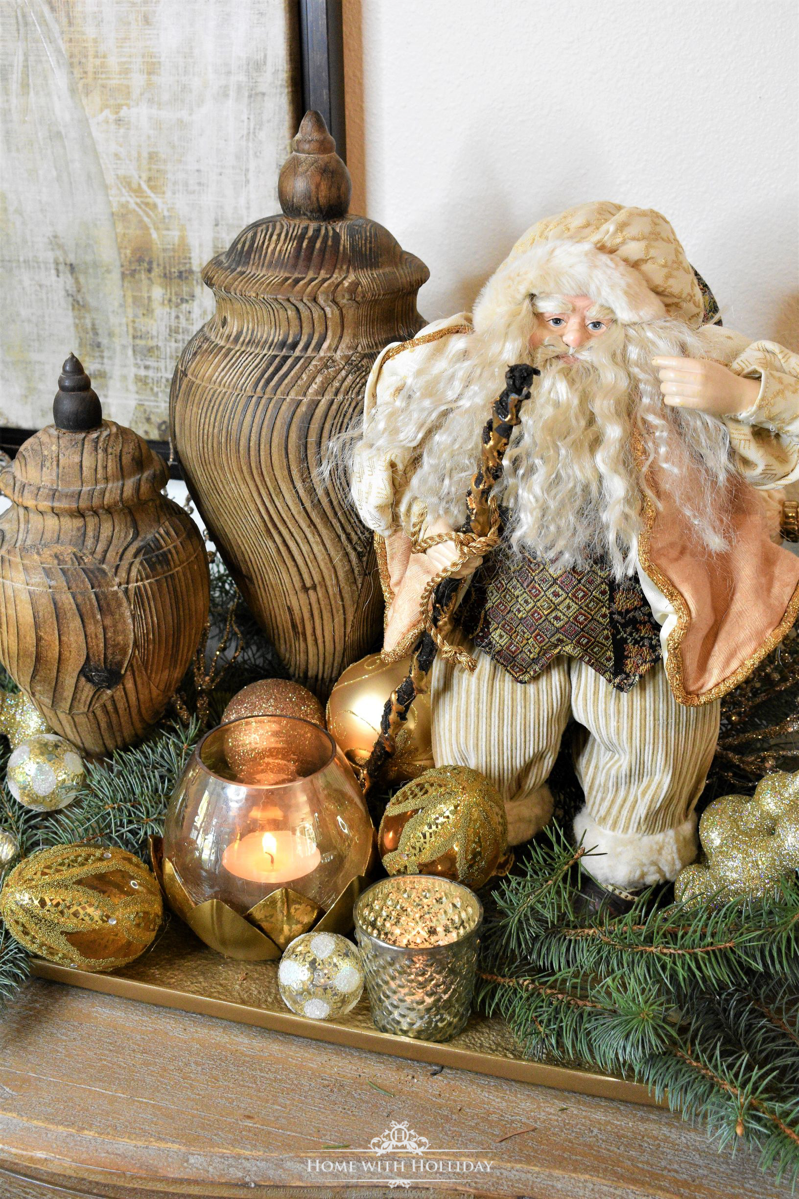 Decorating a Tray for Christmas 6 Ways - Fancy Santa - Home with Holliday