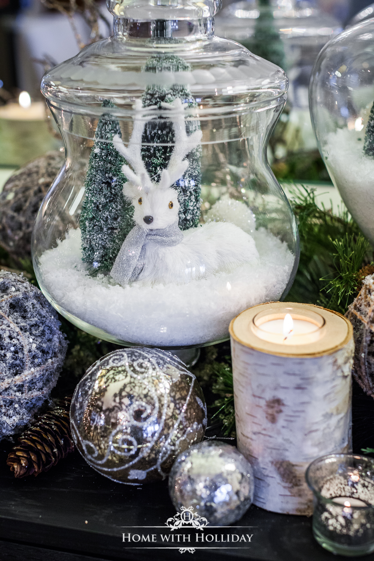 Apothecary Jars used in Christmas Decorating