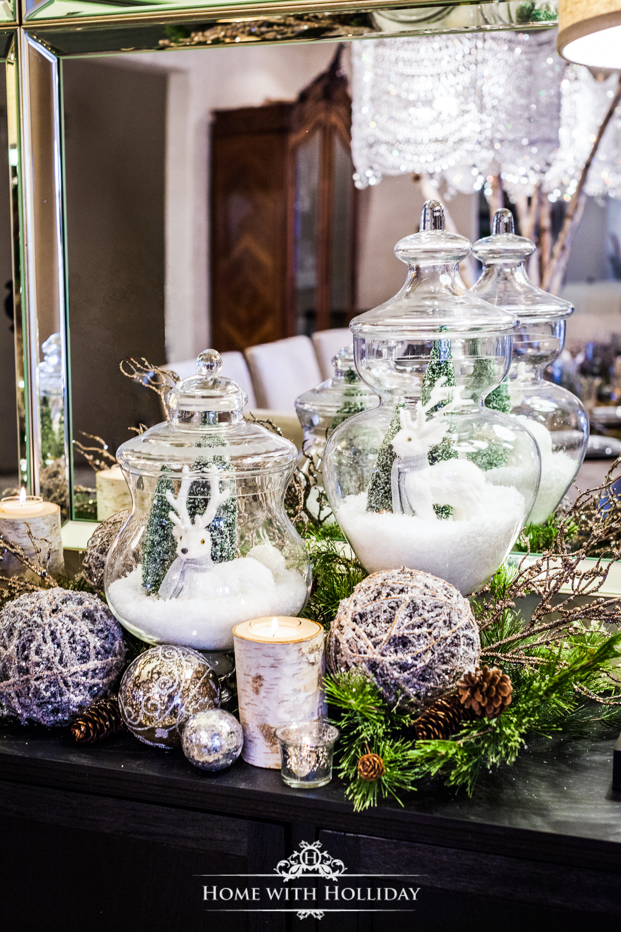 using apothecary jars for christmas decorating