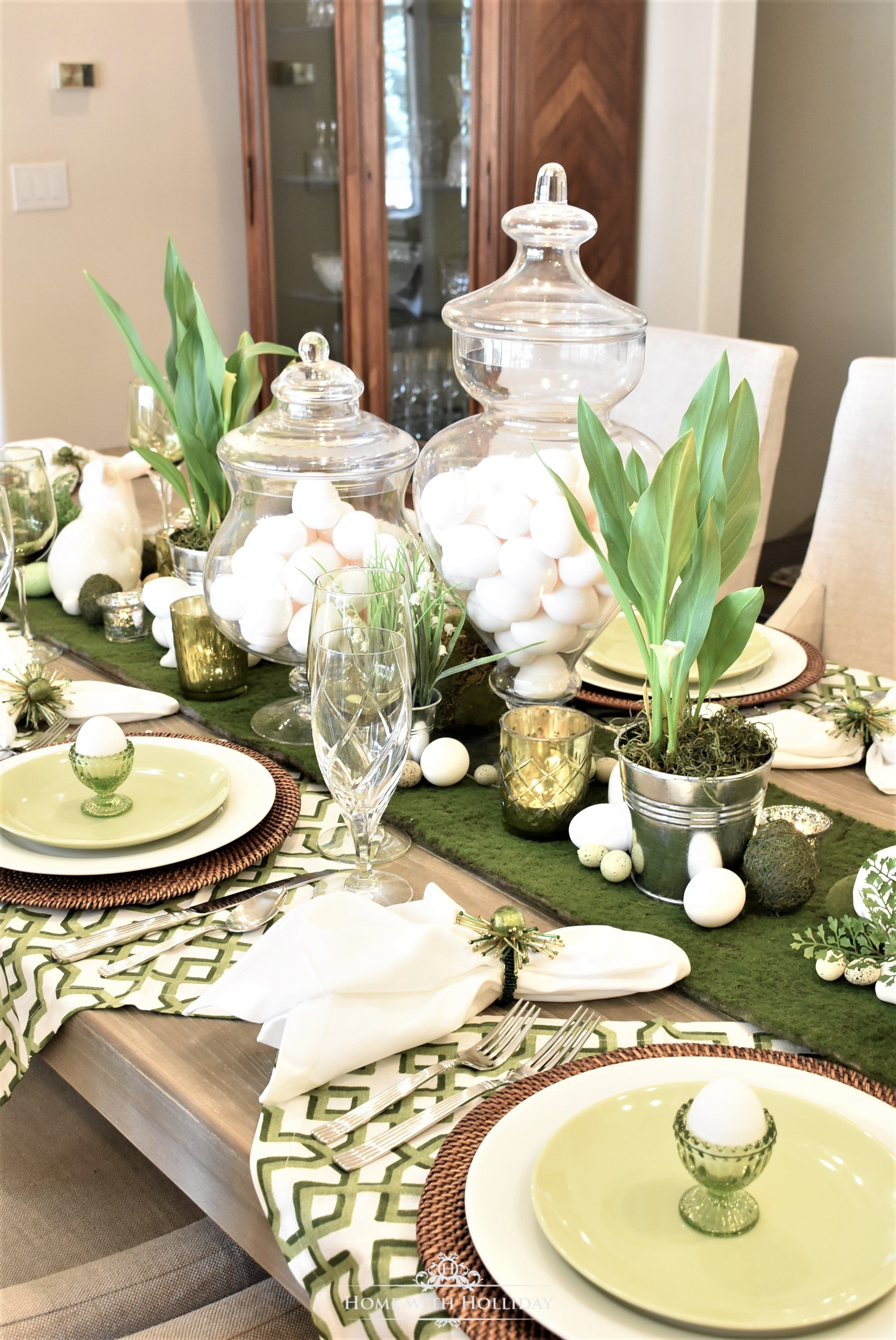 Green and White Easter Table Setting - Home with Holliday