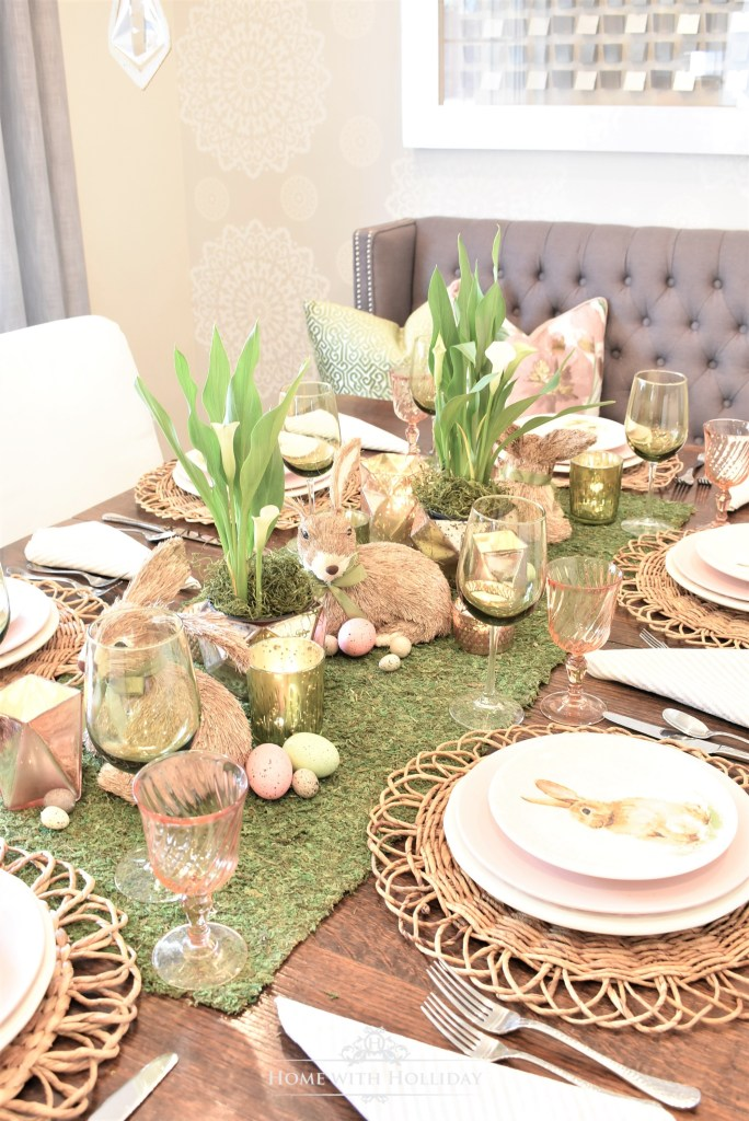 Green and Blush Pink Easter Table Setting - Home with Holliday