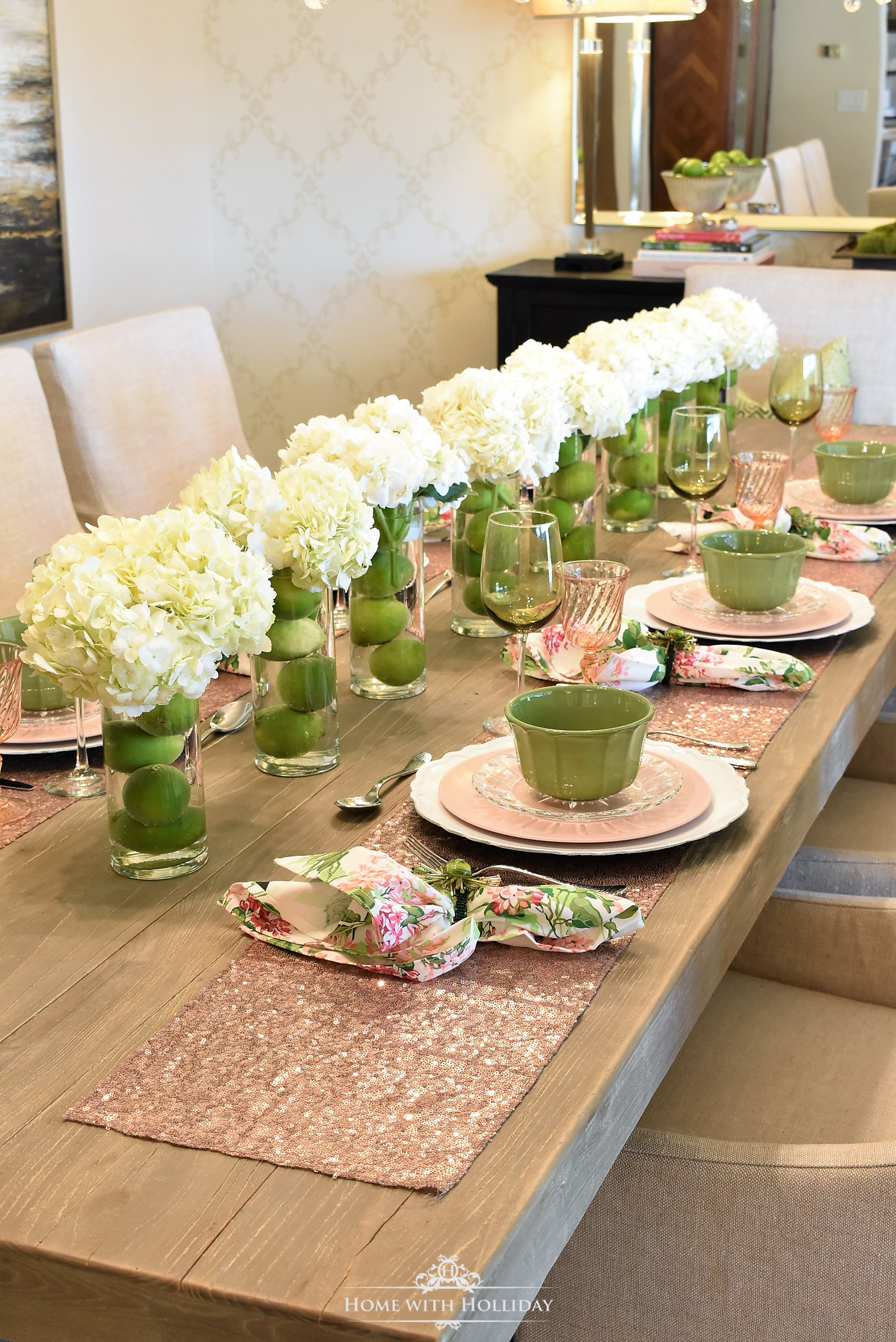 My Top Ten Posts of 2018 - Hydrangea Centerpiece for Spring Table Setting - Home with Holliday