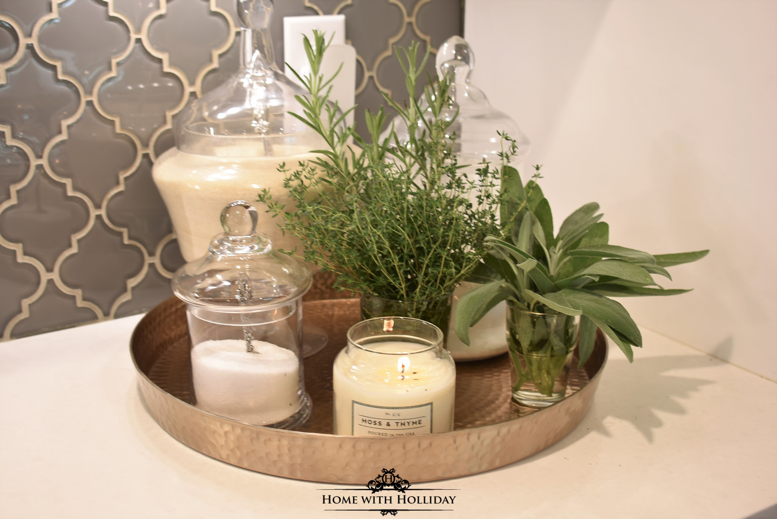 Fall Vignette with Apothecary Jars