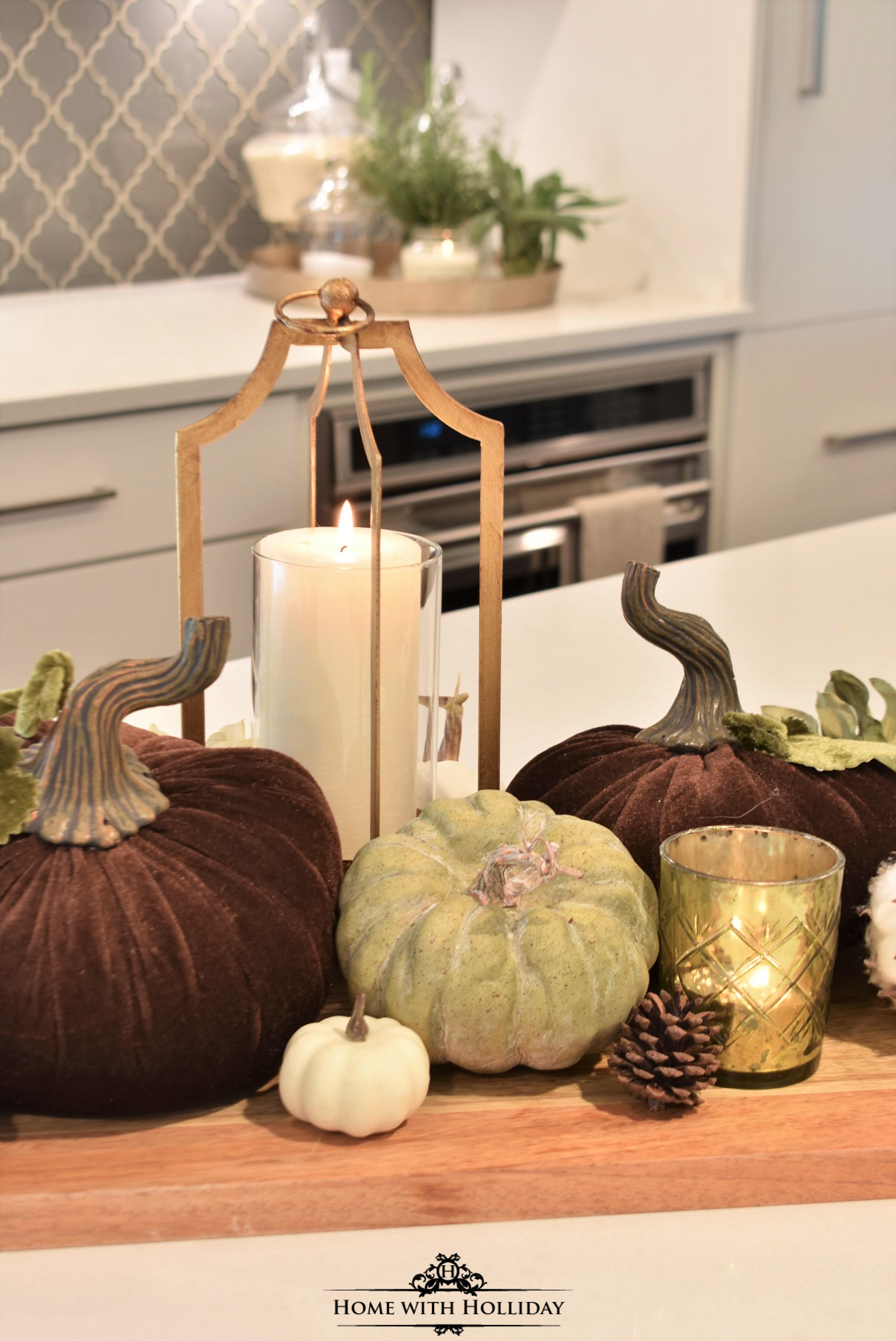 Fall Vignette with Velvet Pumpkins