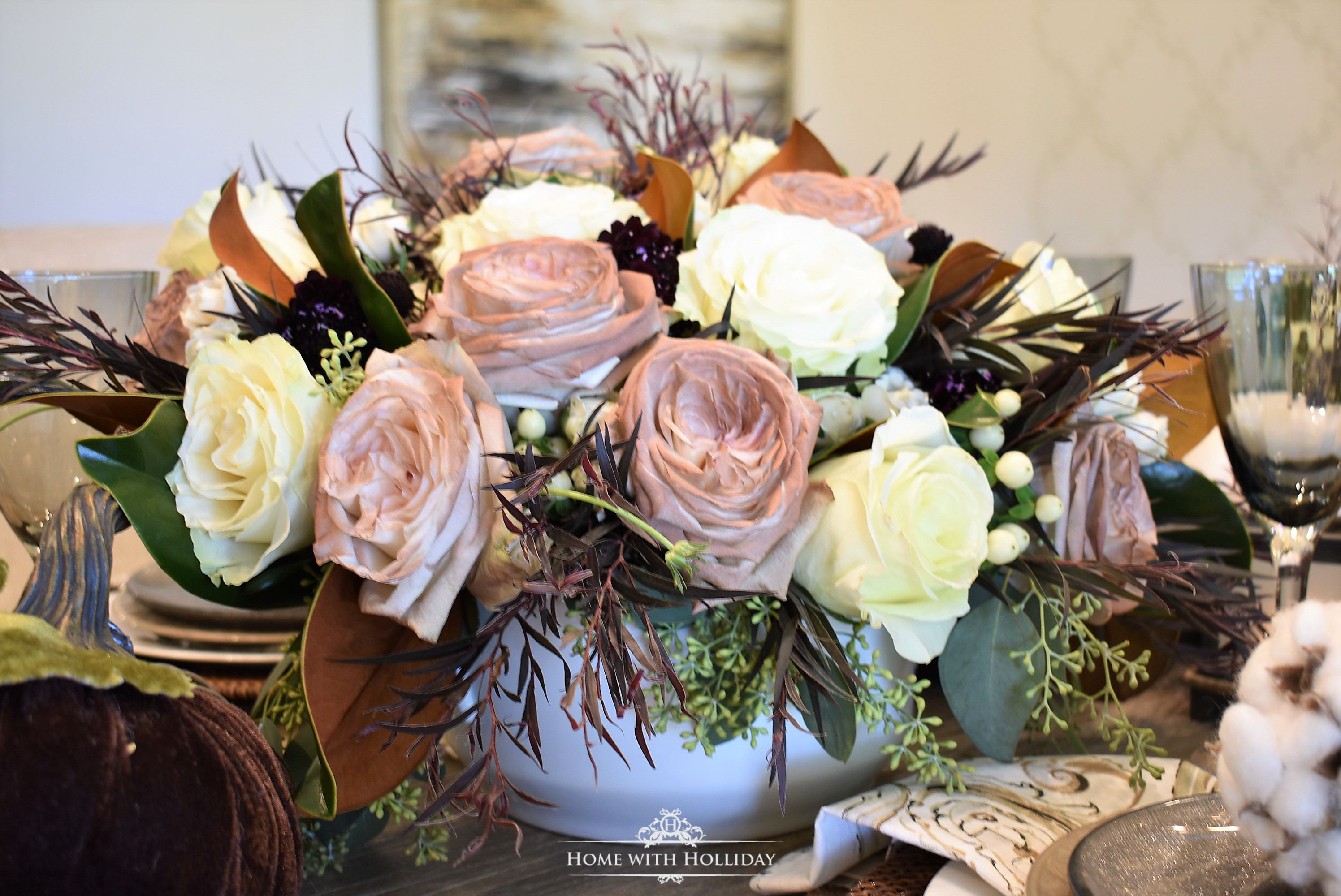 Fall Table Setting with Brown and White Pumpkins - The Flowers