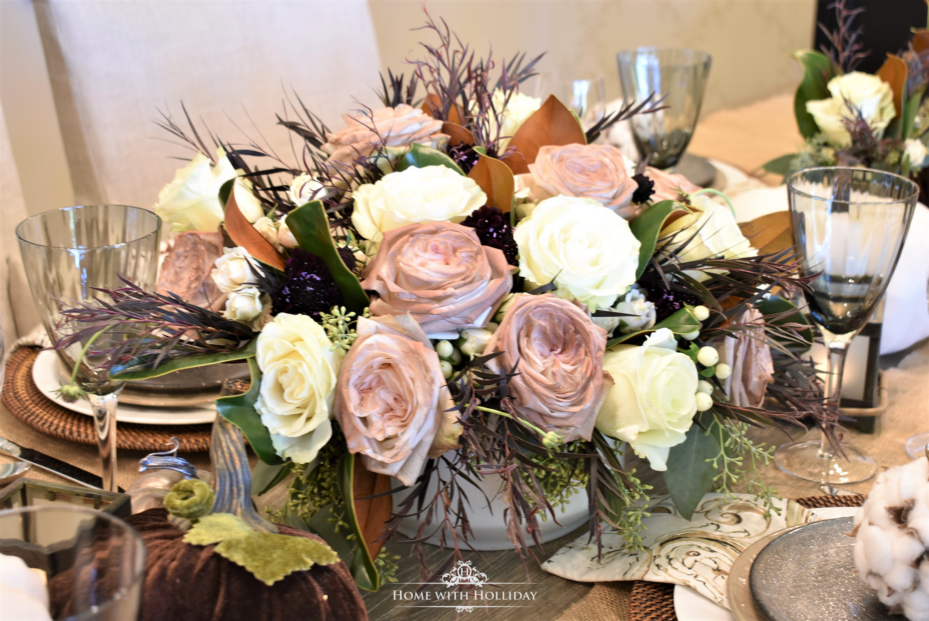 Fall Table Setting with White and Brown Pumkpins - Floral Details