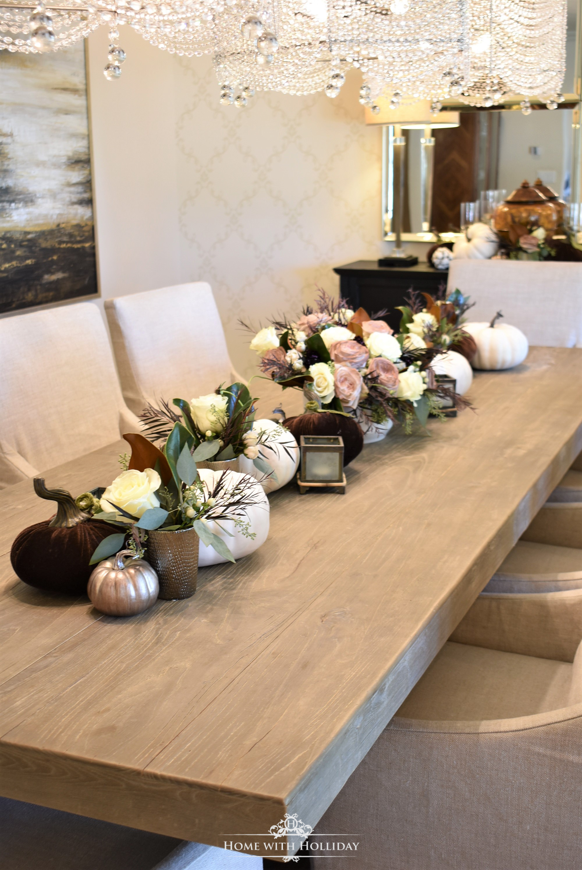 Centerpiece for Fall Table Setting with Brown and White Pumpkins