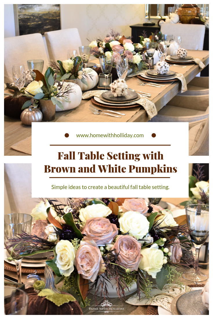 Fall Table Setting with Brown and White Pumpkins - Home with Holliday