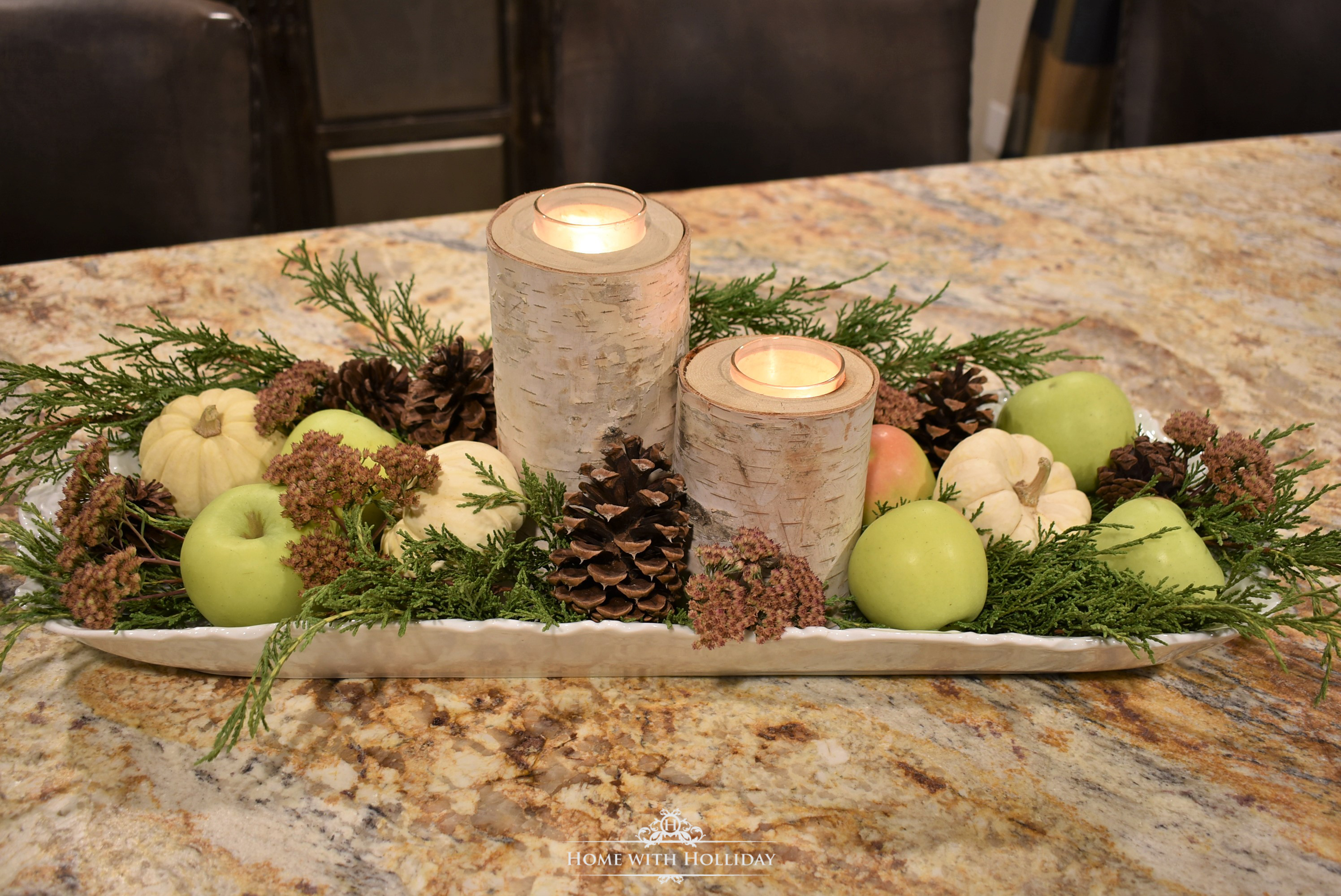 A Fall Centerpiece with Green Apples - Home with Holliday