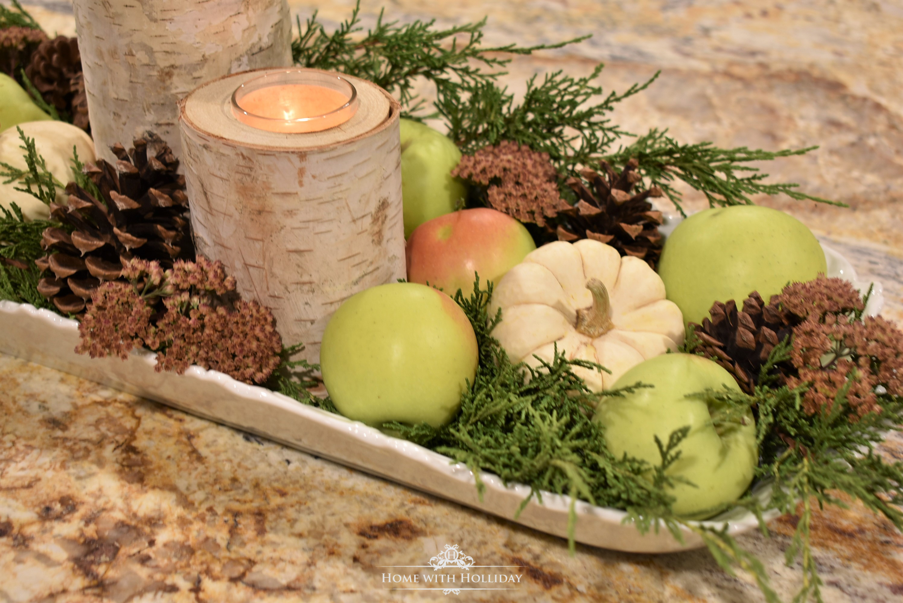 A Fall Centerpiece with Green Apples and Pumpkins - Home with Holliday