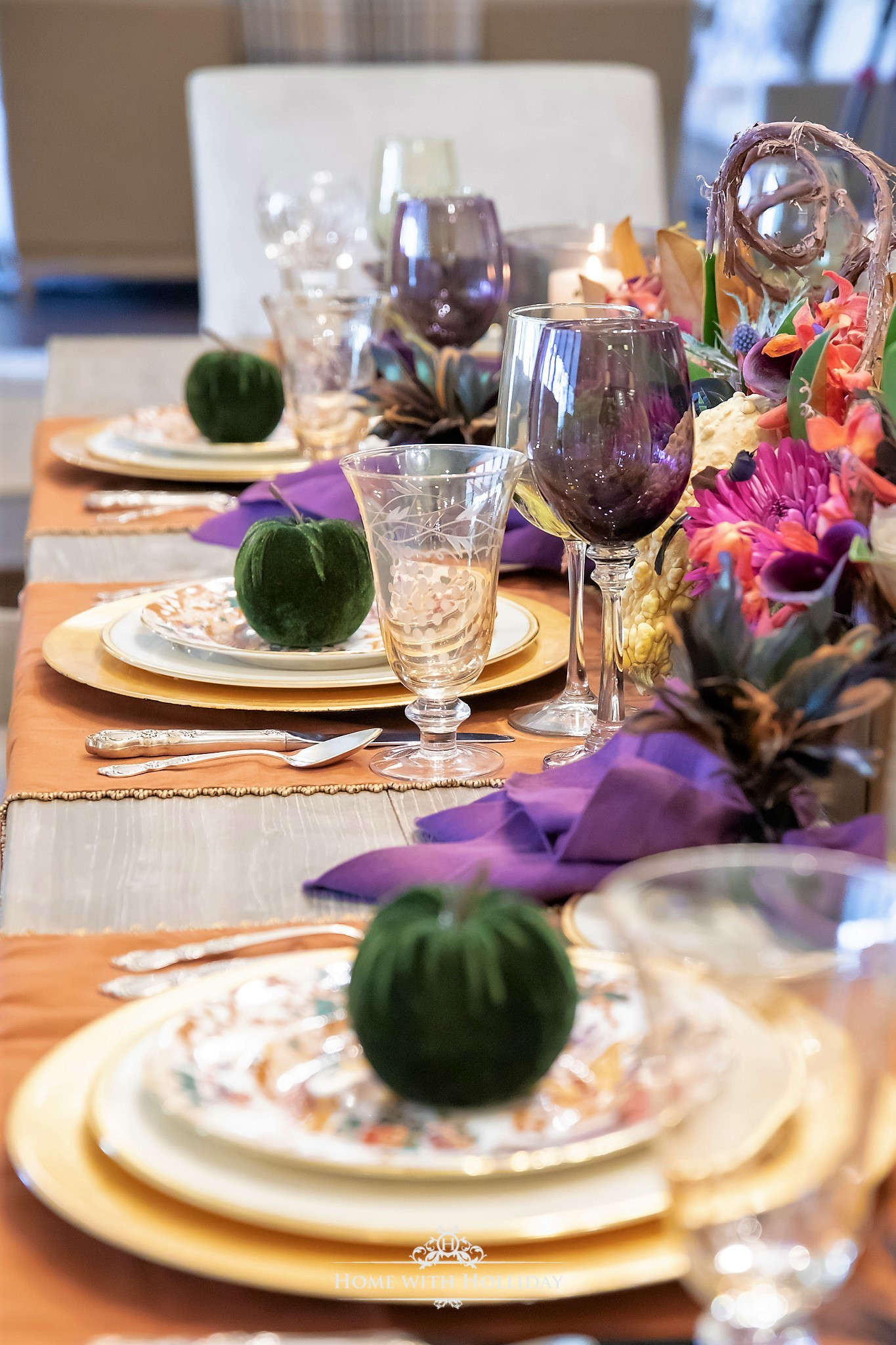 Place Settings for my Jewel-toned Thanksgiving Table Setting - Home with Holliday