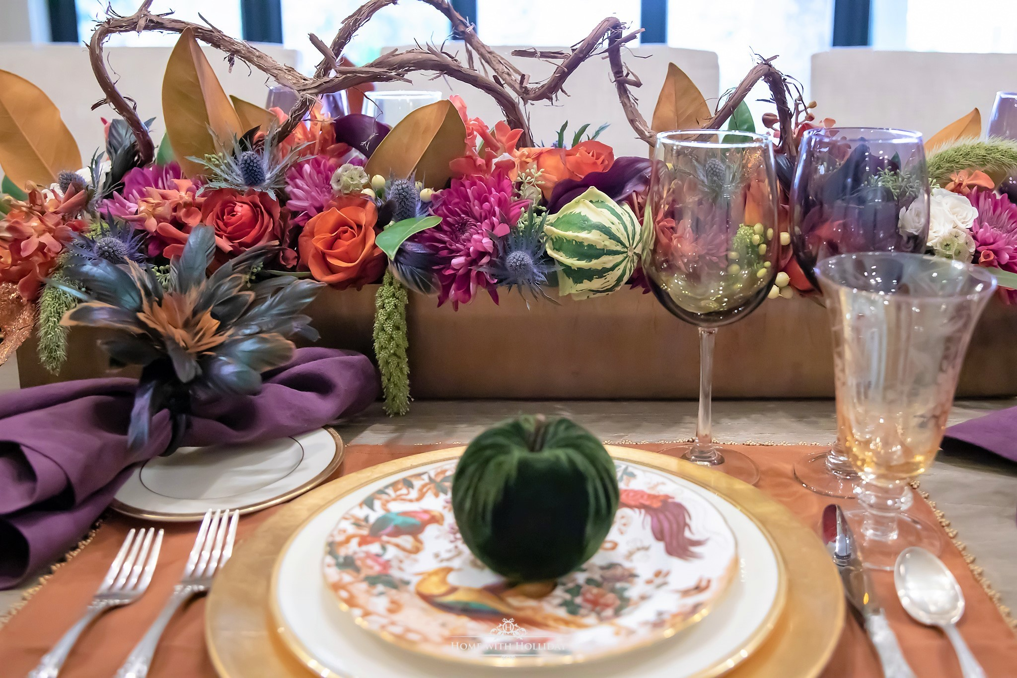 Placesettings for a Jewel-toned Thanksgiving Table Setting - Home with Holliday