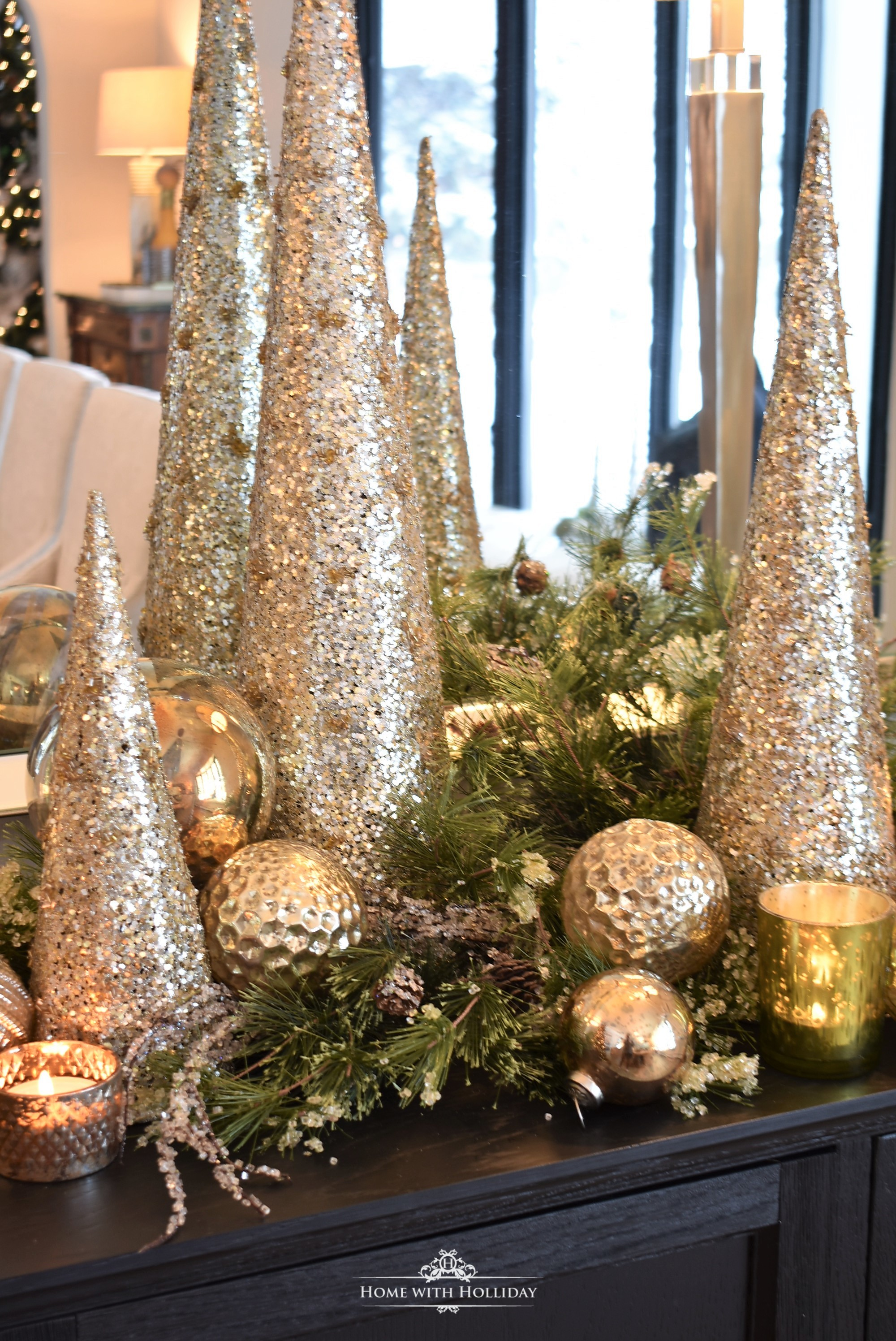 Simple Silver and Gold Glam Christmas Centerpiece - Home with Holliday