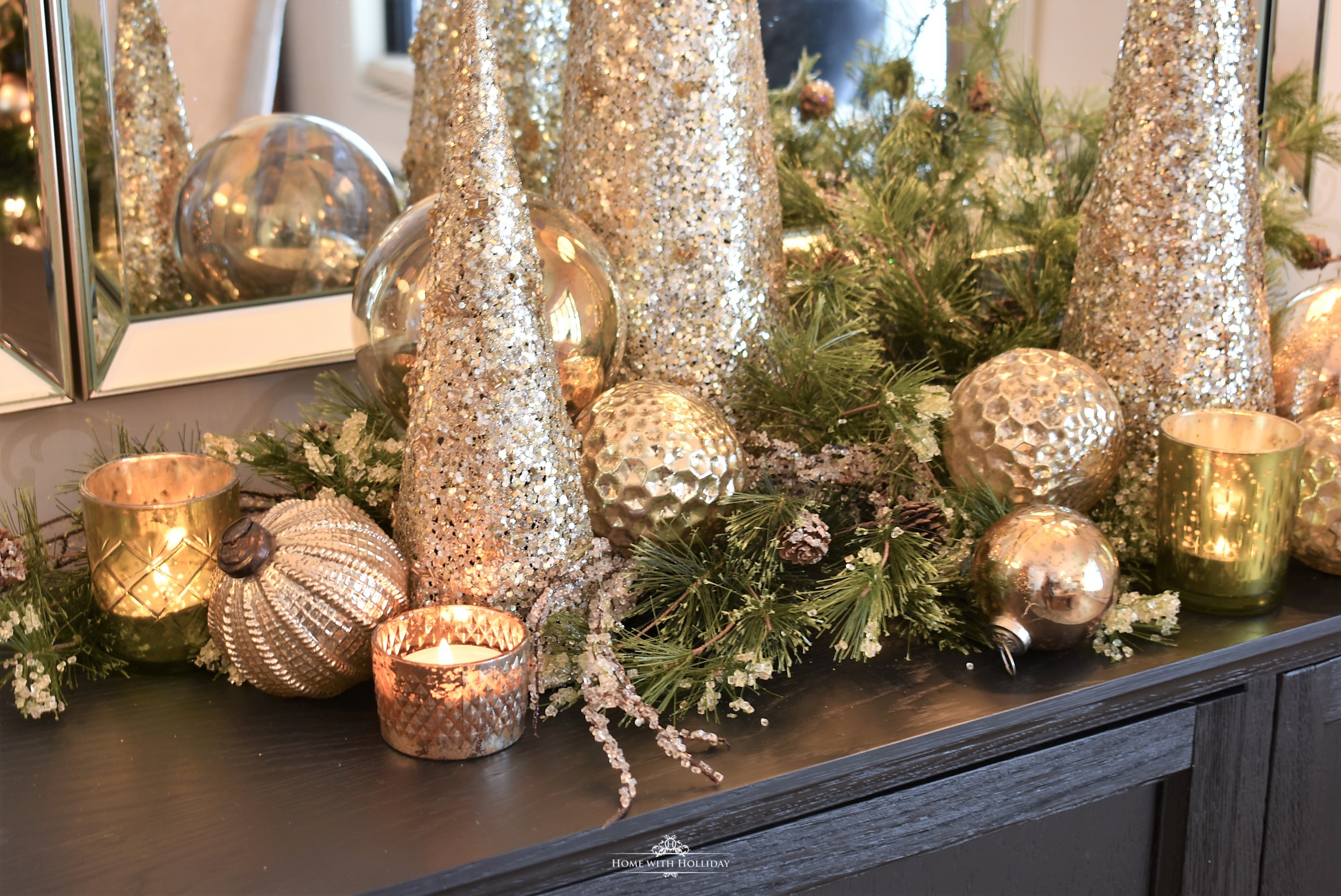 Silver and Gold Glam Christmas Centerpiece - Home with Holliday