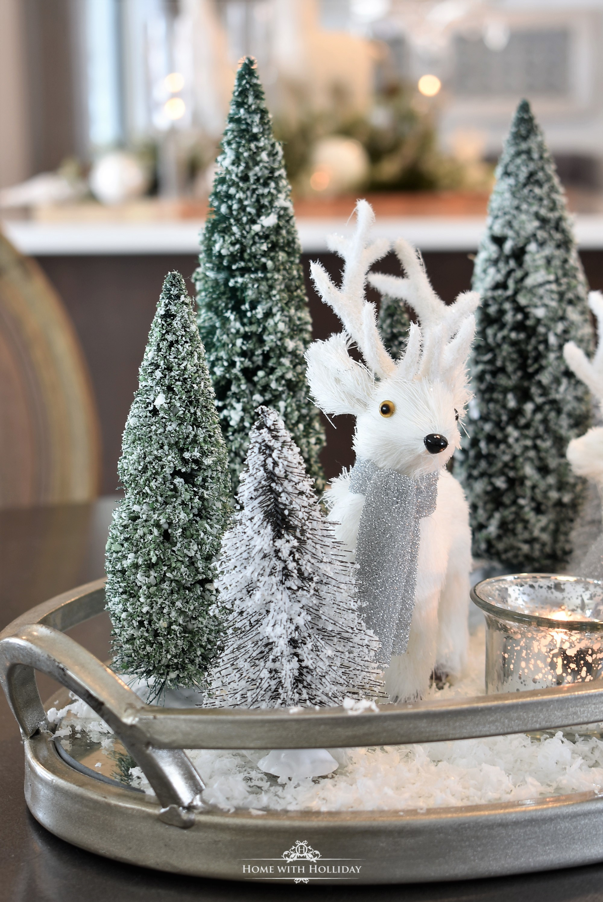 Our Christmas Home Tour - Tiny Winter White Christmas Centerpiece - Home with Holliday