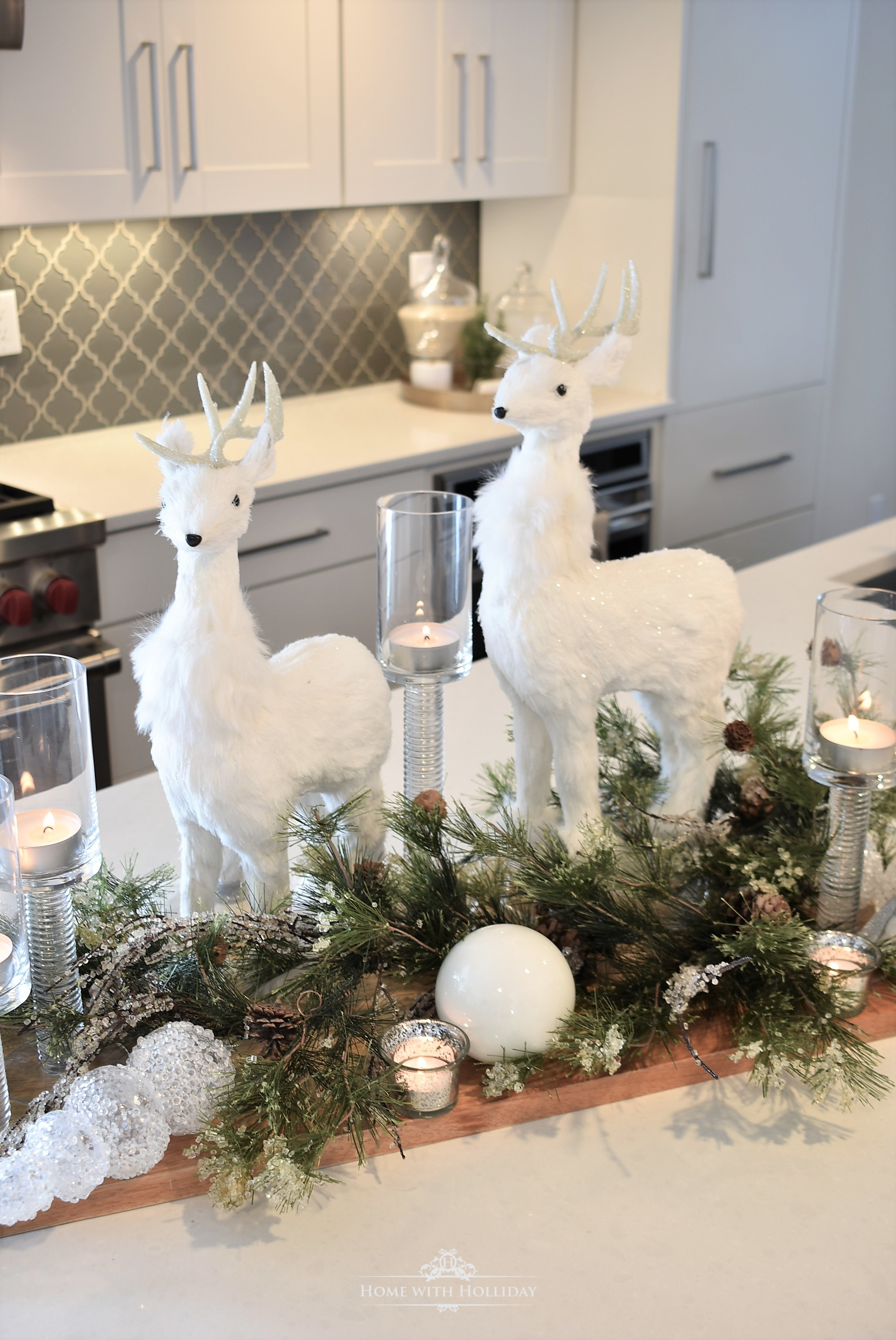 Simple Winter White Christmas Centerpiece - Home with Holliday
