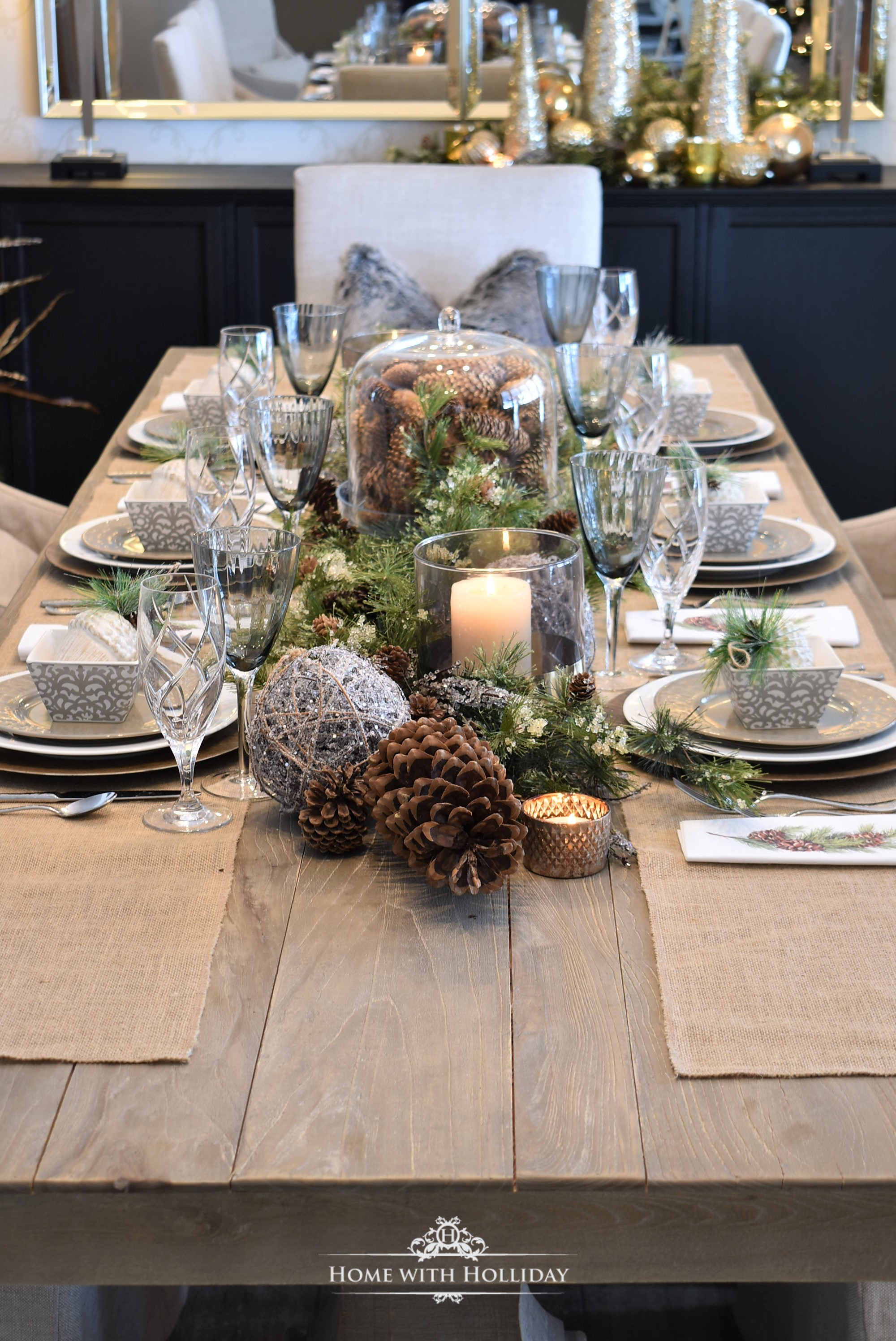 My Christmas Home Tour - Woodland and Pinecone Christmas Table Setting - Home with Holliday