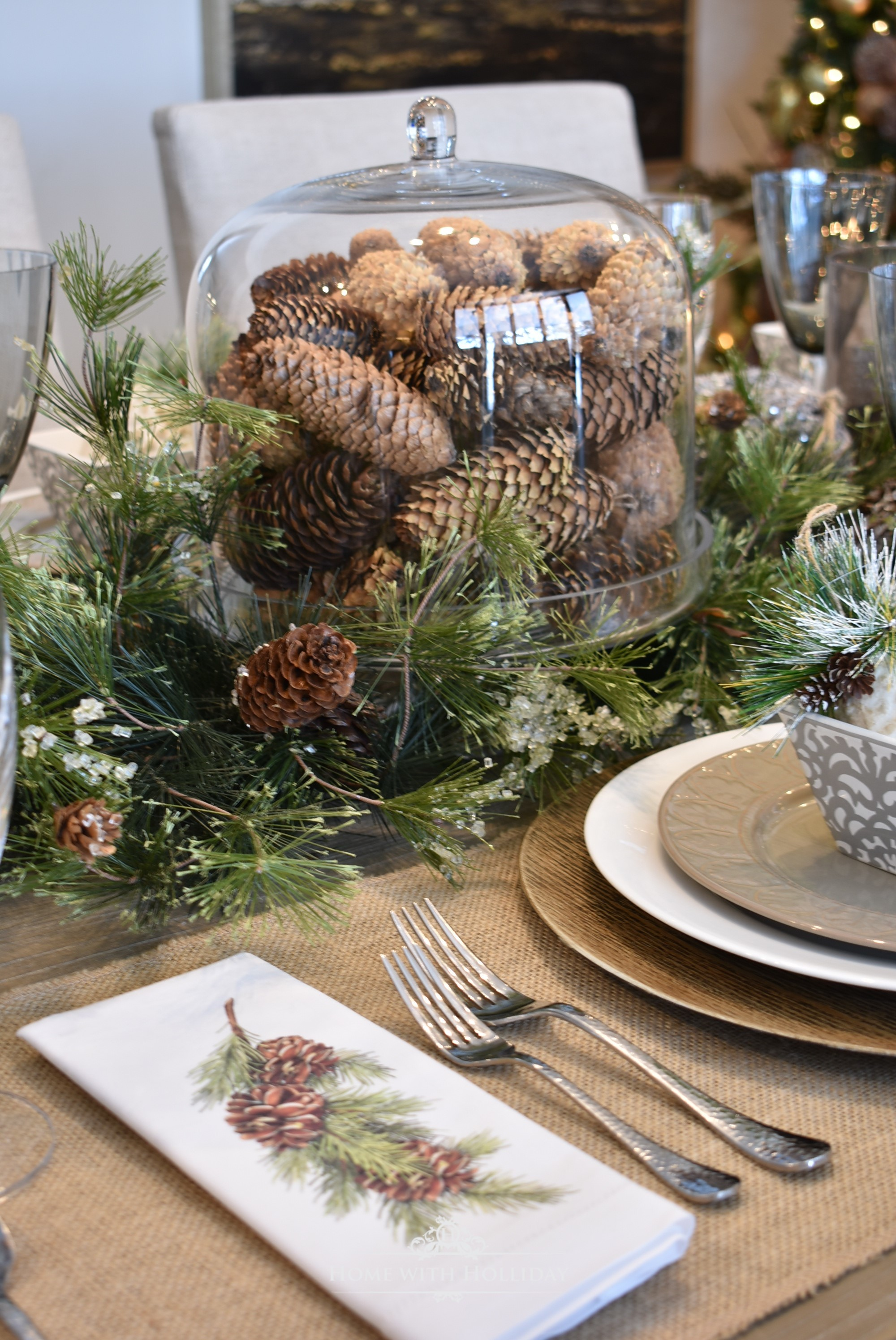 Woodland and Pine Cone Christmas Table Setting - Home with Holliday