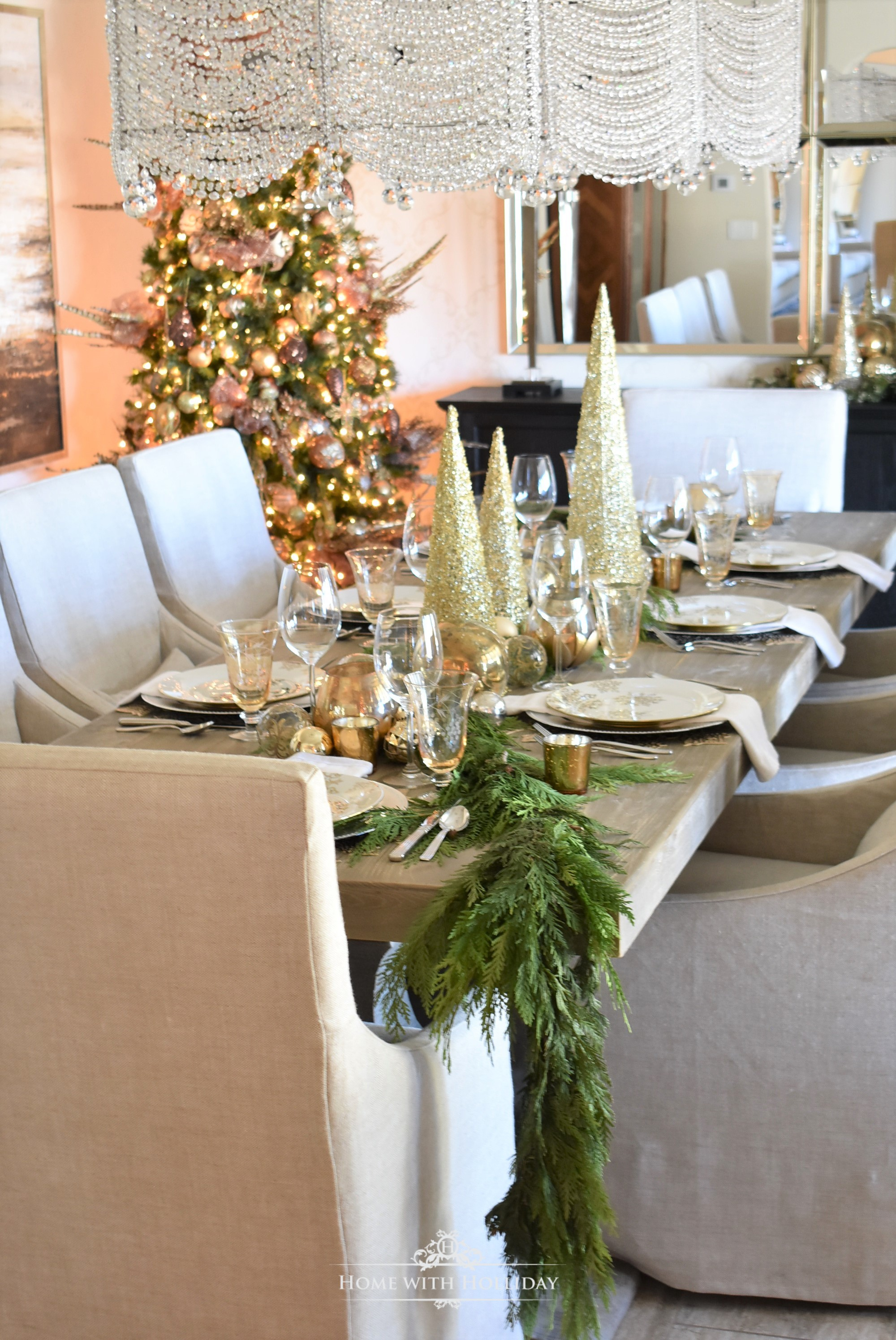 My Christmas Home Tour - Centerpiece for a Gold and Silver Snowflake Christmas Table Setting - Home with Holliday
