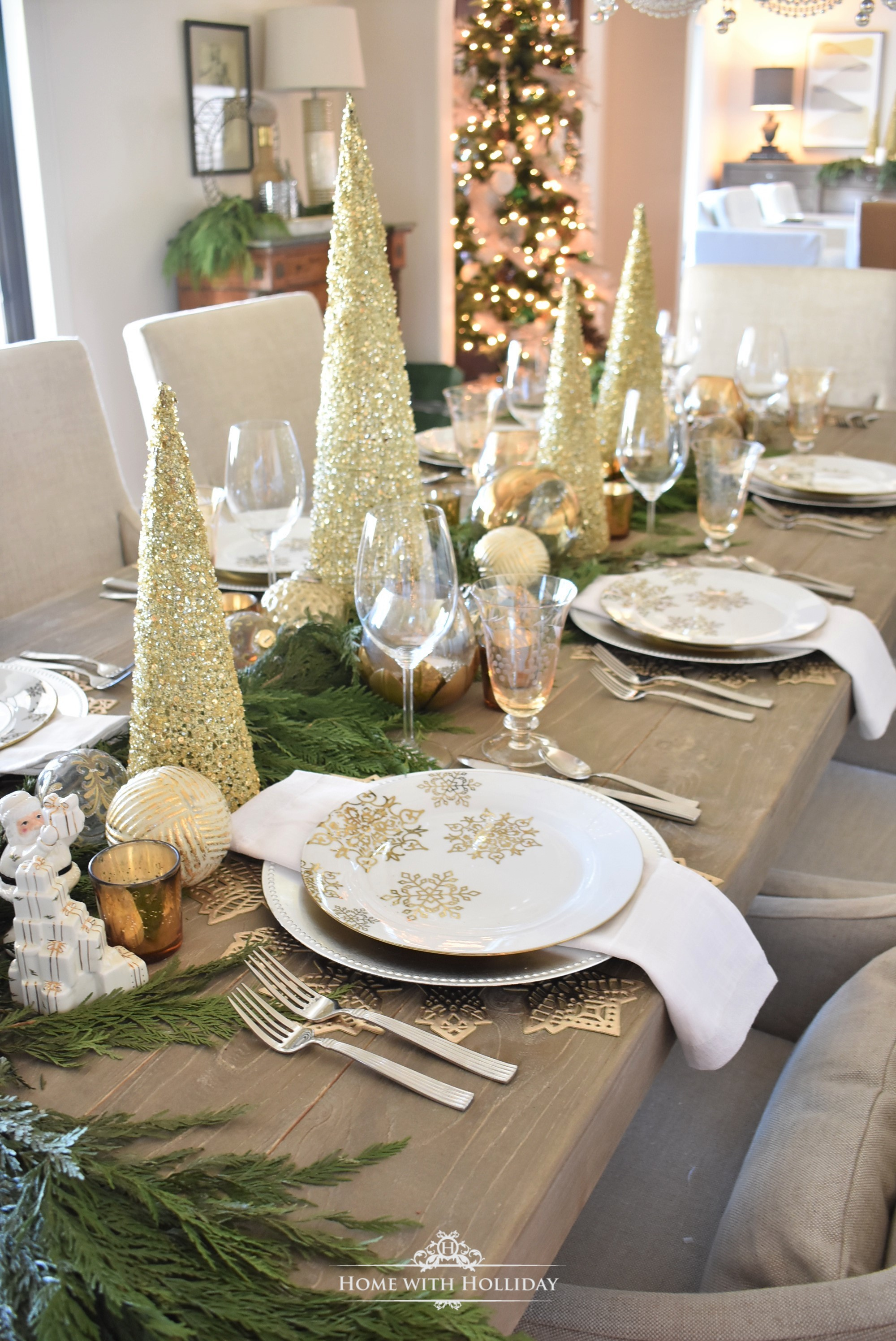 My Gold and Silver Snowflake Christmas Table Setting - Home with Holliday