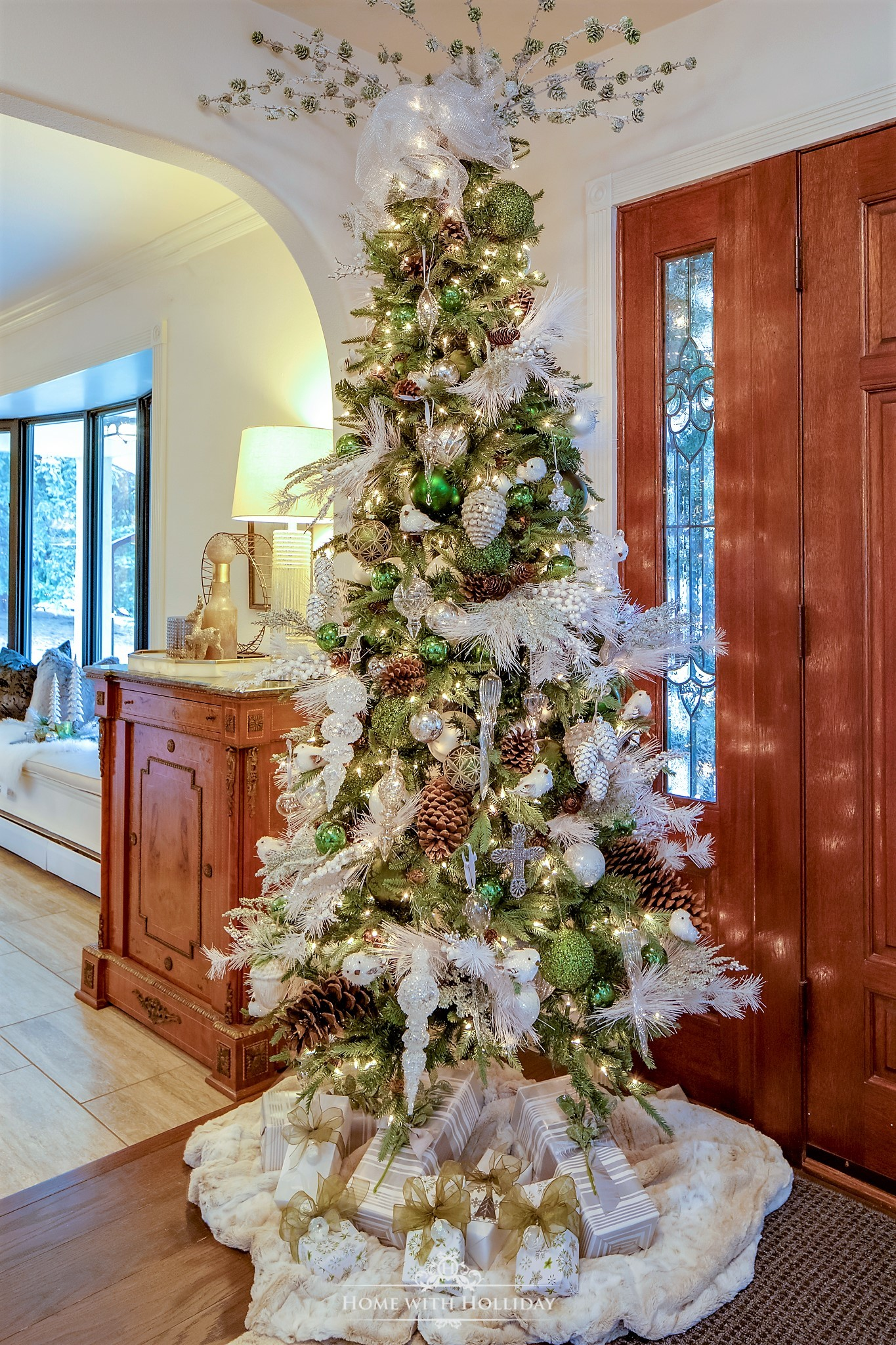 Green and White Winter Christmas Tree - Home with Holliday