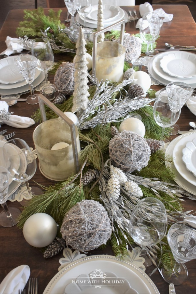Centerpiece for my Winter White Snowflake Christmas Centerpiece - Home with Holliday