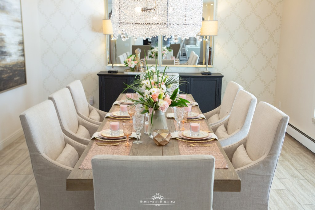 A Blush Pink and Gold Table Setting - Home with Holliday