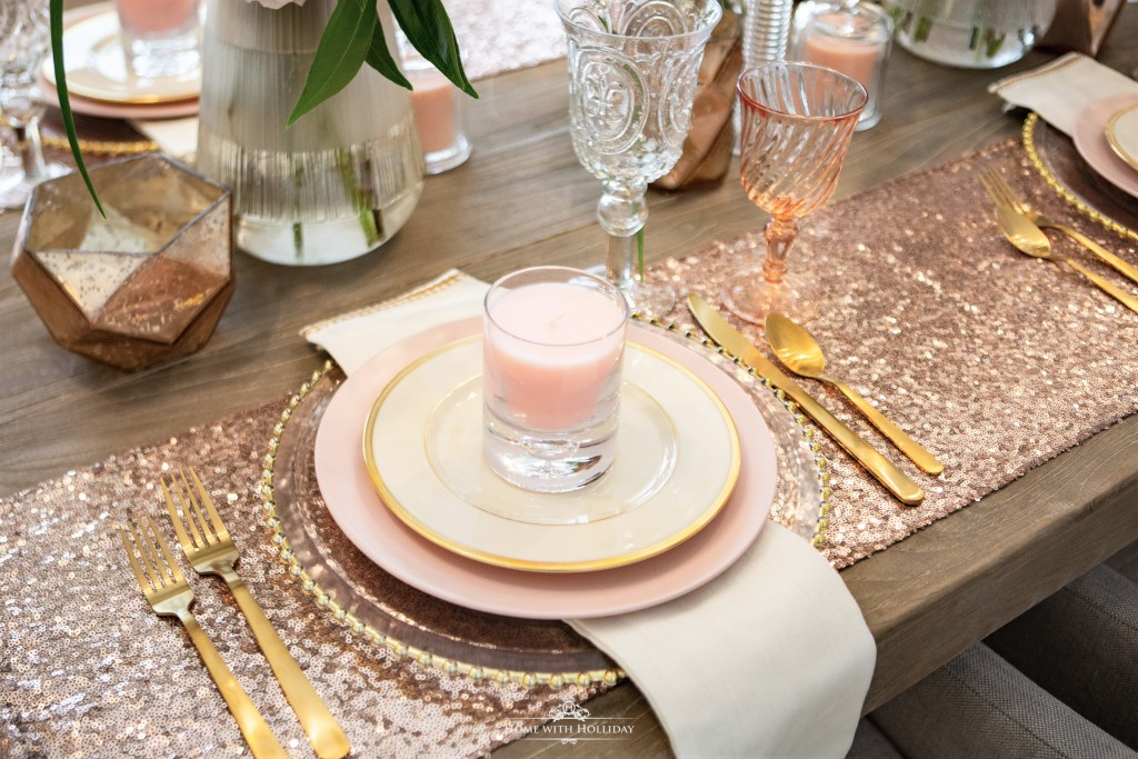 Blush Pink and Gold Table Setting - Home with Holliday
