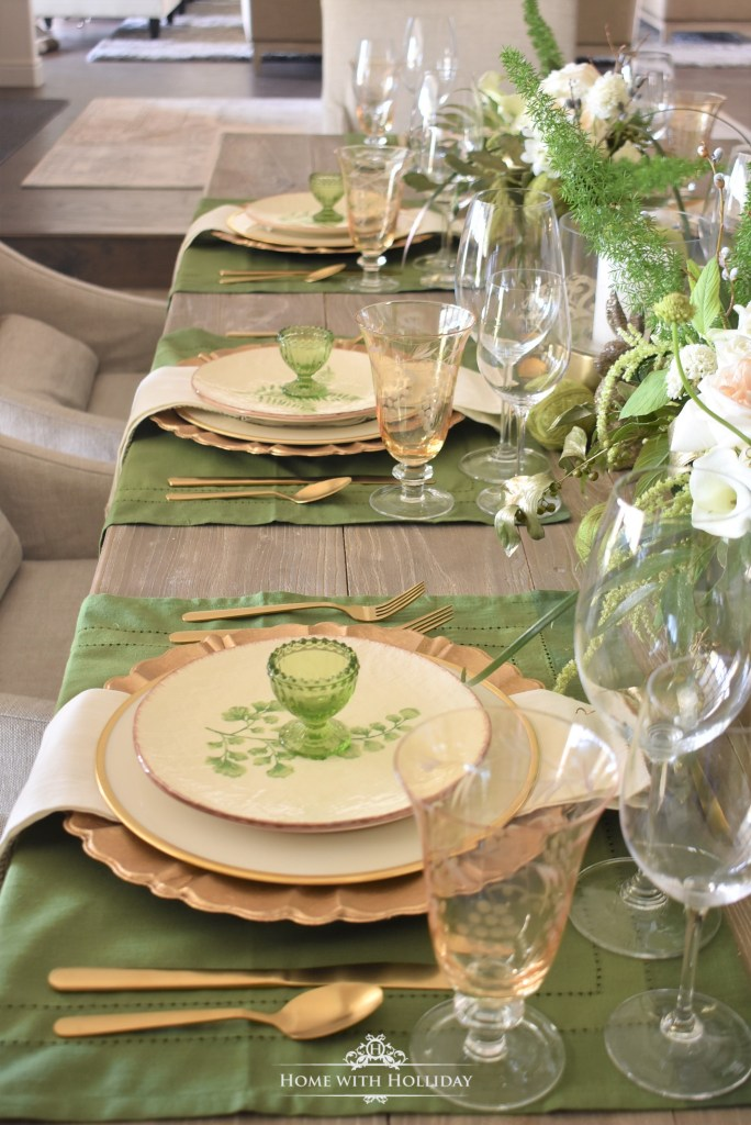 Place Settings for a Green and Gold Easter Table Setting - Home with Holliday