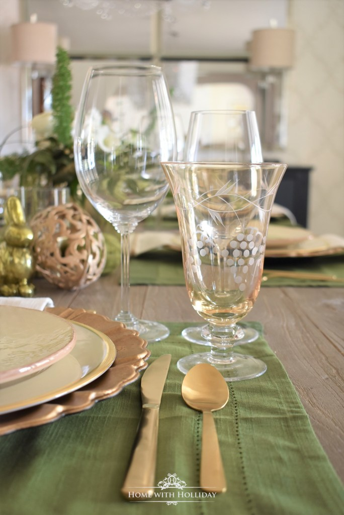 Stemware for my Green and Gold Easter Table Setting - Home with Holliday