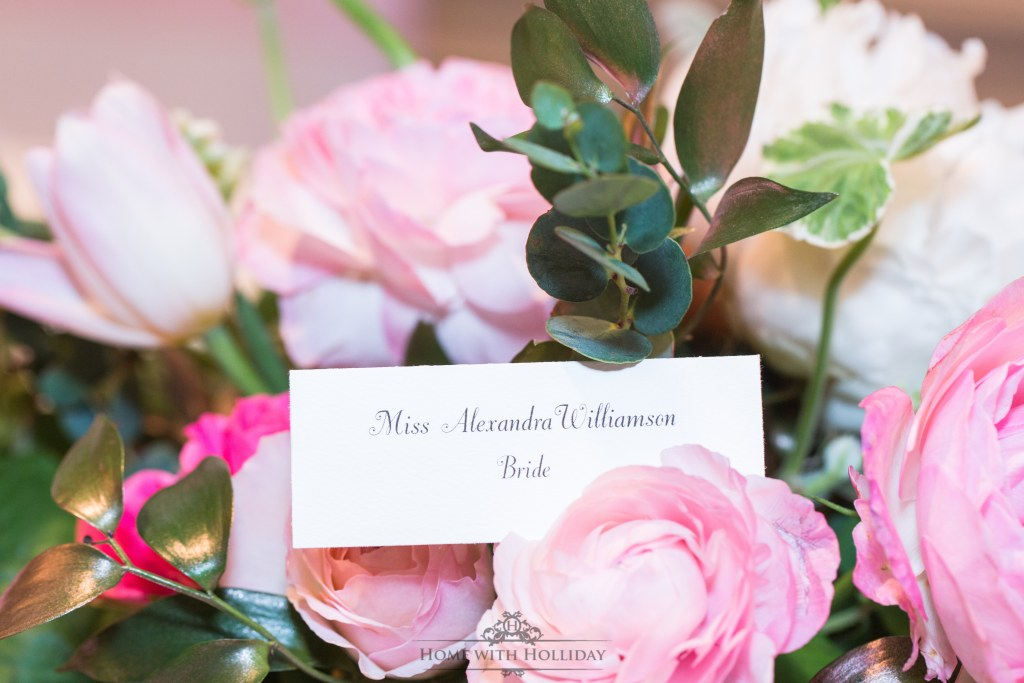Blush Pink and Gold Bridesmaids Luncheon Place Cards - Home with Holliday