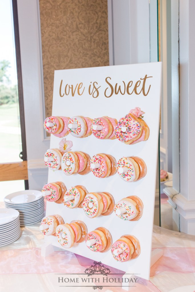 Blush Pink and Gold Bridesmaids Luncheon Donut Wall - Home with Holliday