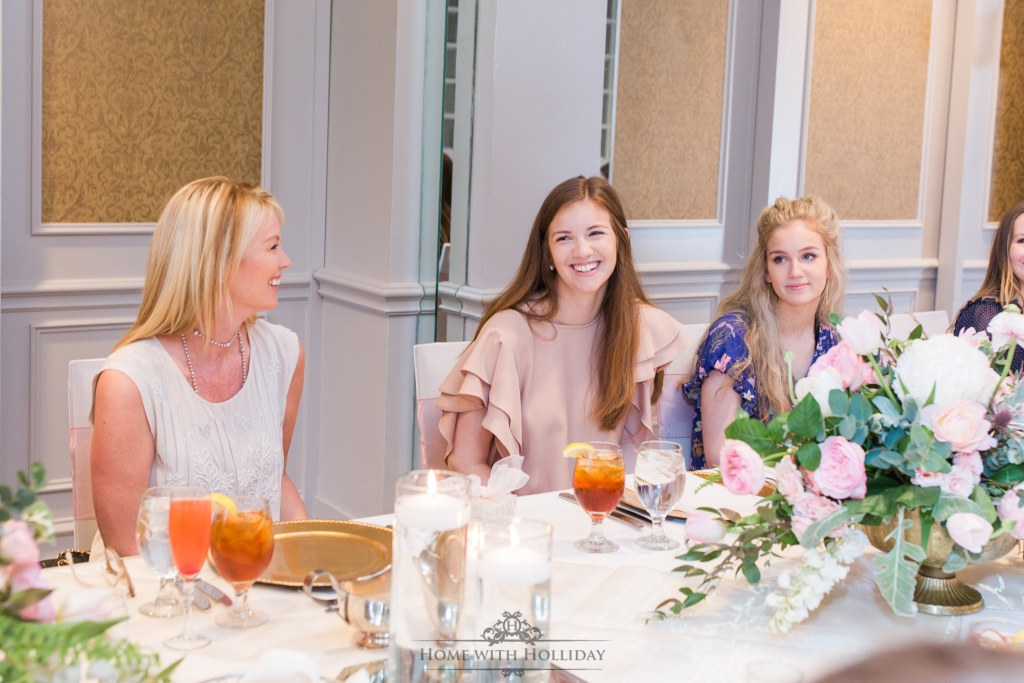 Blush Pink and Gold Bridesmaids Luncheon - Home with Holliday