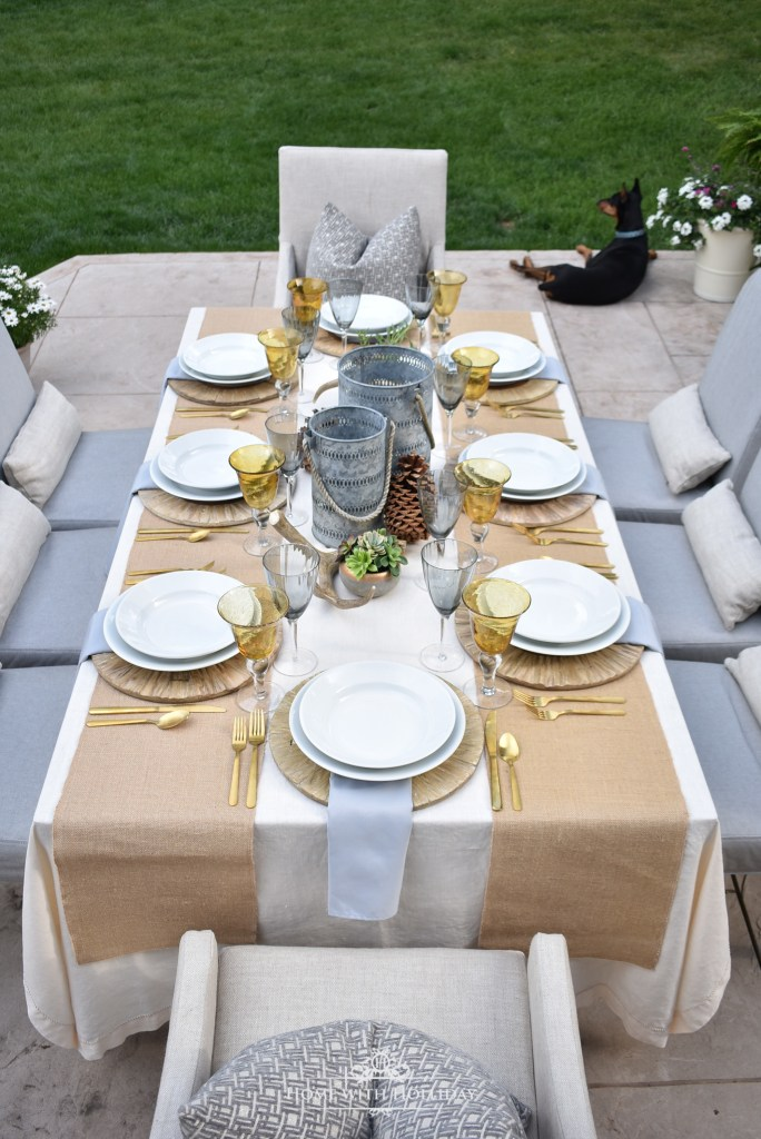 Simple Rustic Alfresco Summer Table Setting - Home with Holliday