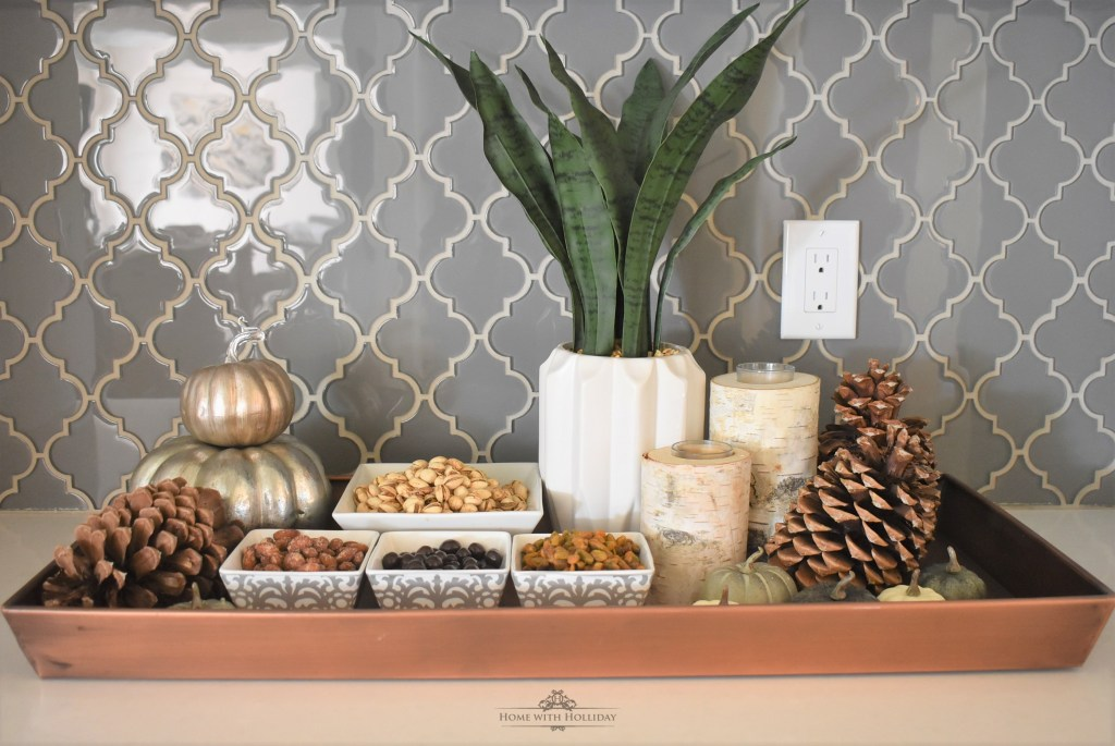 Fall Vignette featuring Nuts and Snacks - Home with Holliday