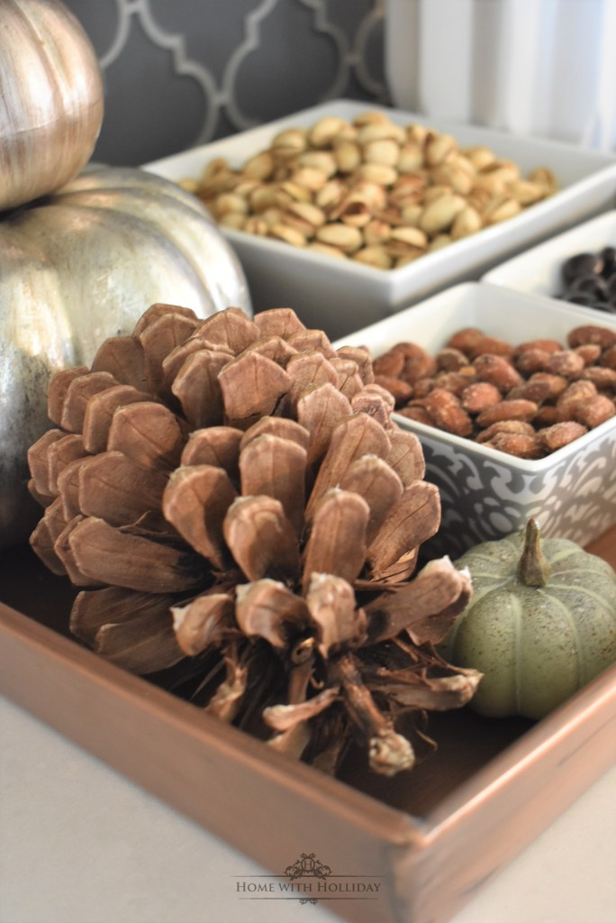 Fun Fall Vignette featuring Nuts and Snacks - Home with Holliday