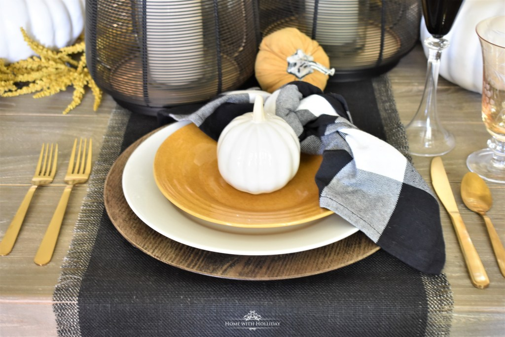 Rustic Harvest Gold Fall Tablescape Place Settings - Home with Holliday