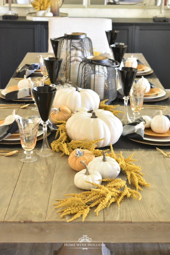 Ideas for a Rustic Harvest Gold Fall Tablescape - Home with Holliday