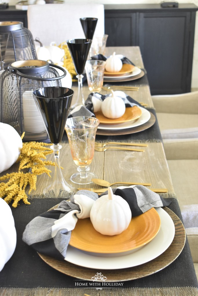 Rustic Harvest Gold Fall Tablescape with Black and White - Home with Holliday