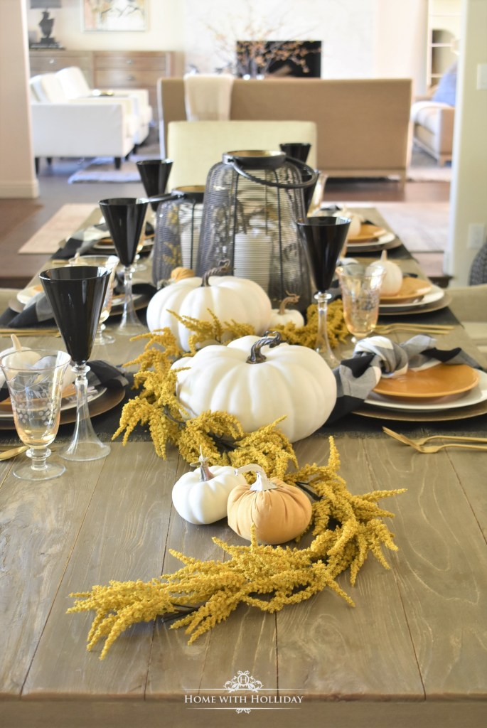 Easy Rustic Harvest Gold Fall Tablescape - Home with Holliday