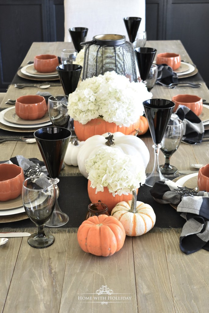 Simple Elegant Halloween Tablescape with Fresh Hydrangeas - Home with Holliday