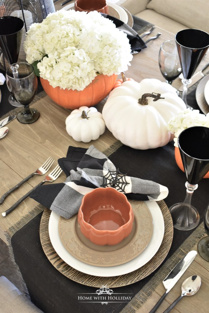 Place Settings for Elegant Halloween Tablescape with Fresh Hydrangeas - Home with Holliday