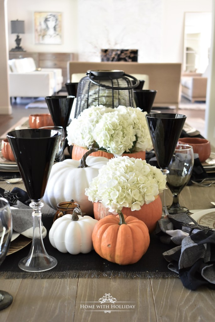 My Elegant Halloween Tablescape with Fresh Hydrangeas - Home with Holliday