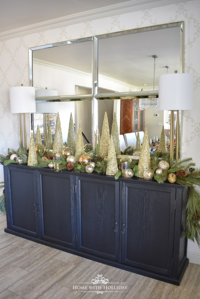 Our Green and Gold Elegant Christmas Cone Tree Centerpiece - Home with Holliday