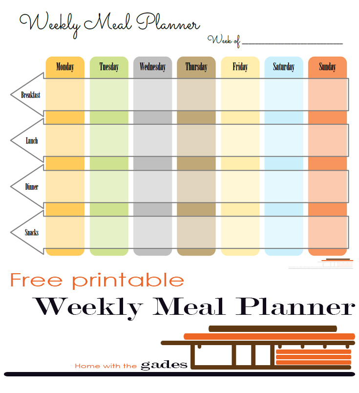 Printable Weekly Meal Planners: Home With The Gades