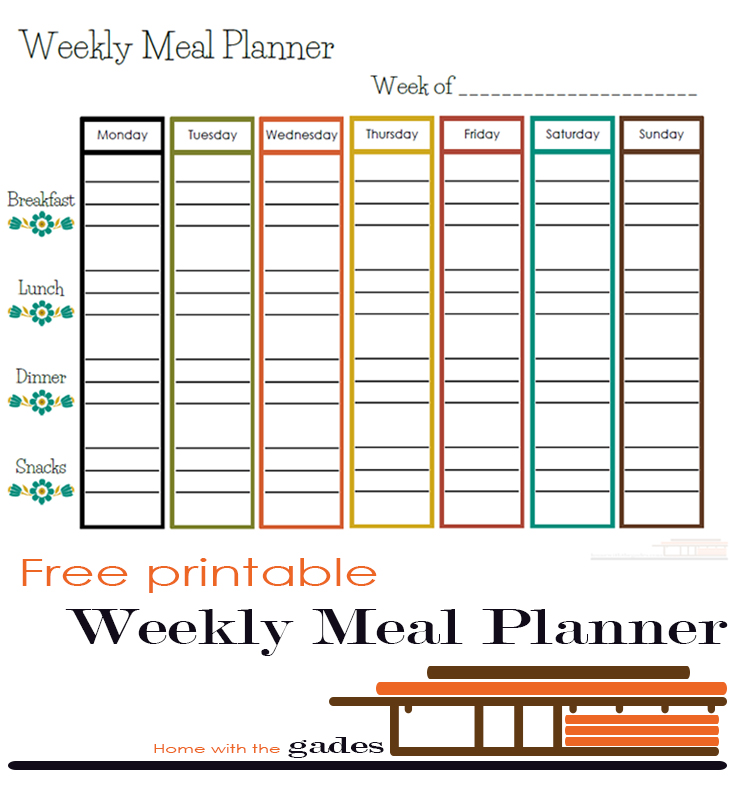 free printable  u2013 weekly meal planner  u2013 home with the gades