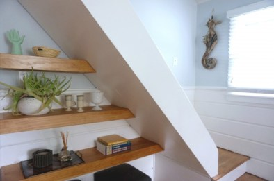 Living Room Steps and Shelves
